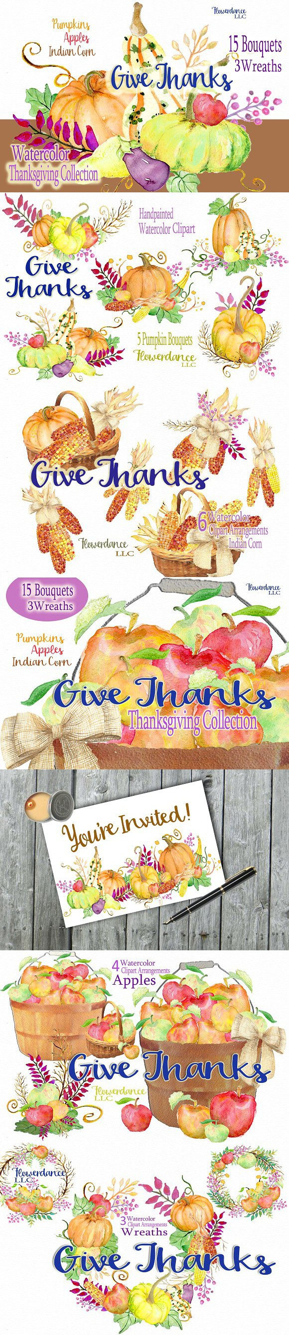 Give Thanks Thanksgiving Collection. Wedding Card Templates