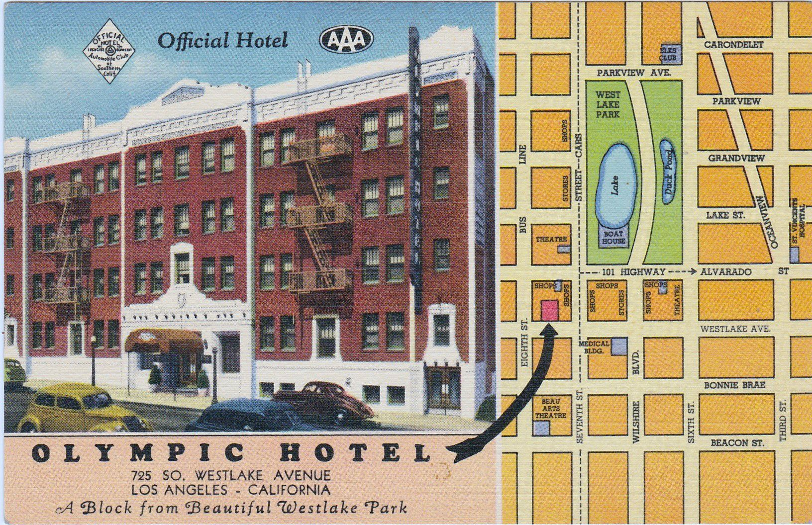 Olympic Hotel 725 S Westlake Ave Los Angeles CA 1940 200
