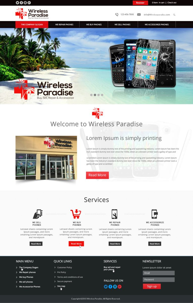 26 Modern Web Designs Cell Phone Web Design Project For Wireless Paradise Franchising Web Design Modern Web Design Web Design Projects