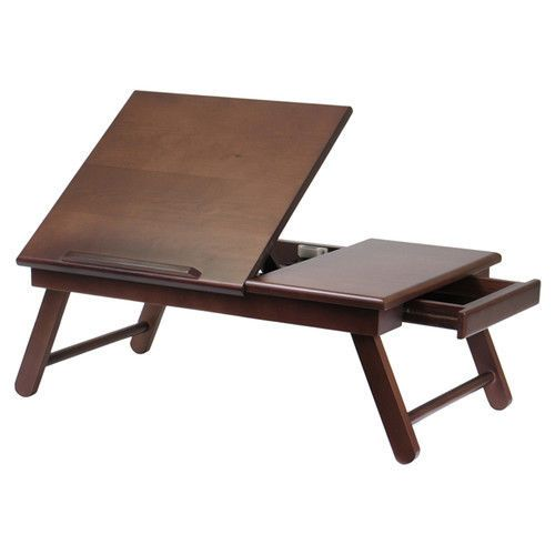 Wood Laptop Tray Table Drawer Flip Top Breakfast Bed Computer Writing Tv Folding