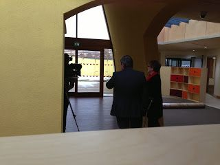 BBC Look East filming in the centre on January 22. Chief reporter Kim Riley is pictured talking to Roberta Lovick.