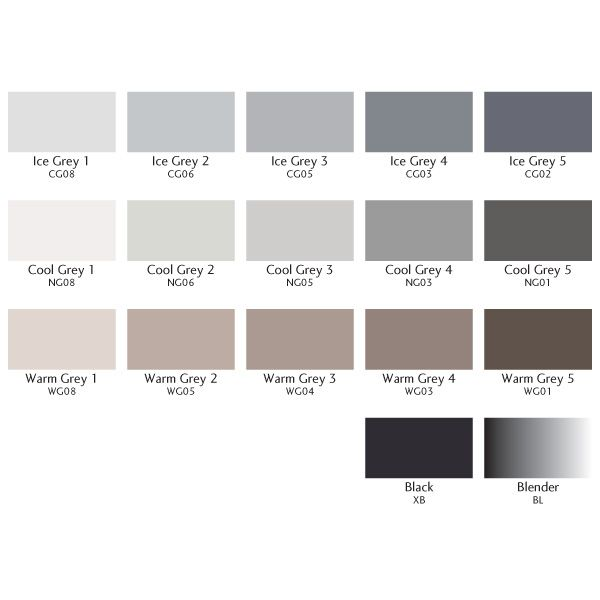 Color Chart Of Letraset - Single Grey ProMarkers