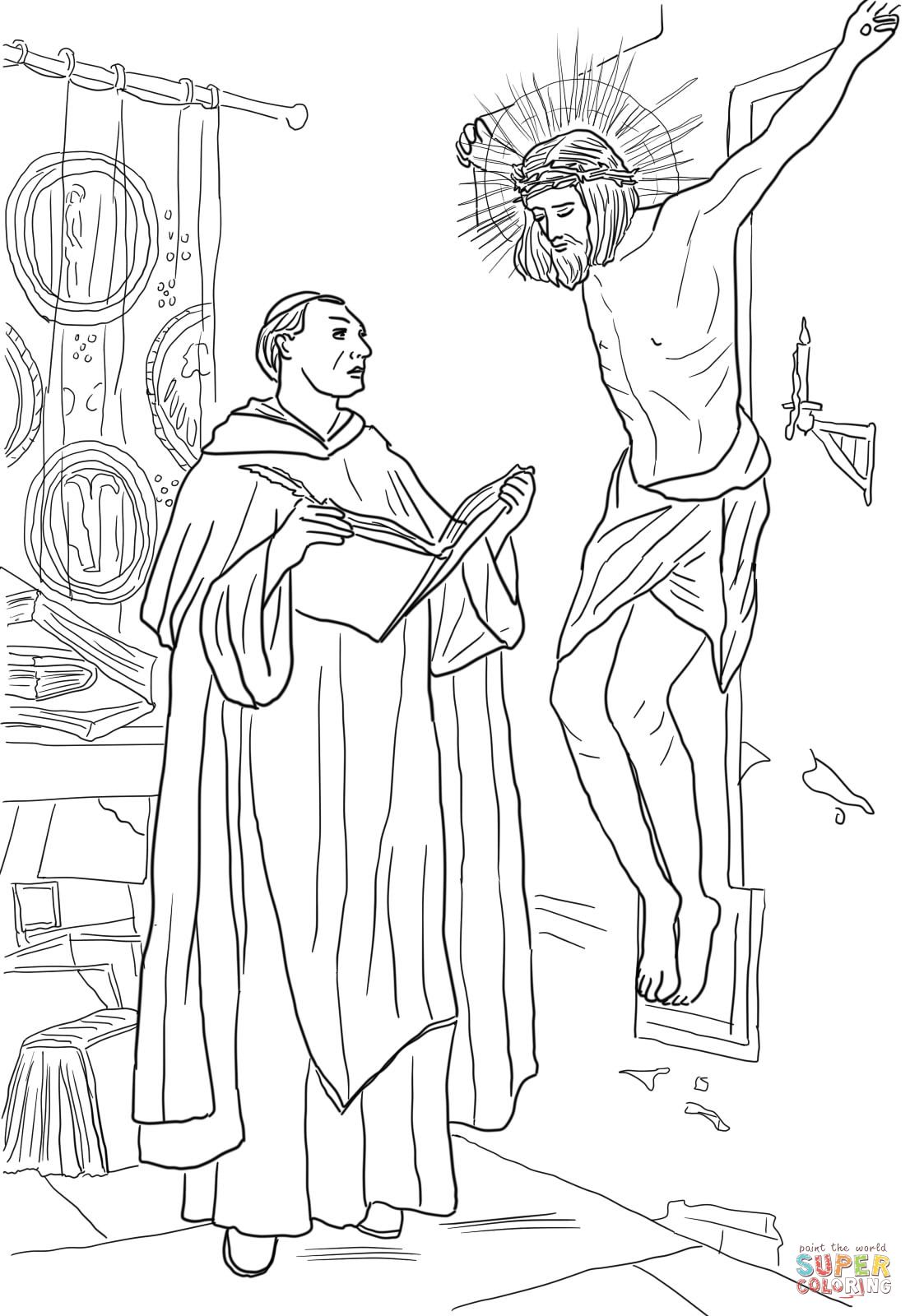 St Thomas Aquinas coloring page | Catholic coloring sheets ...