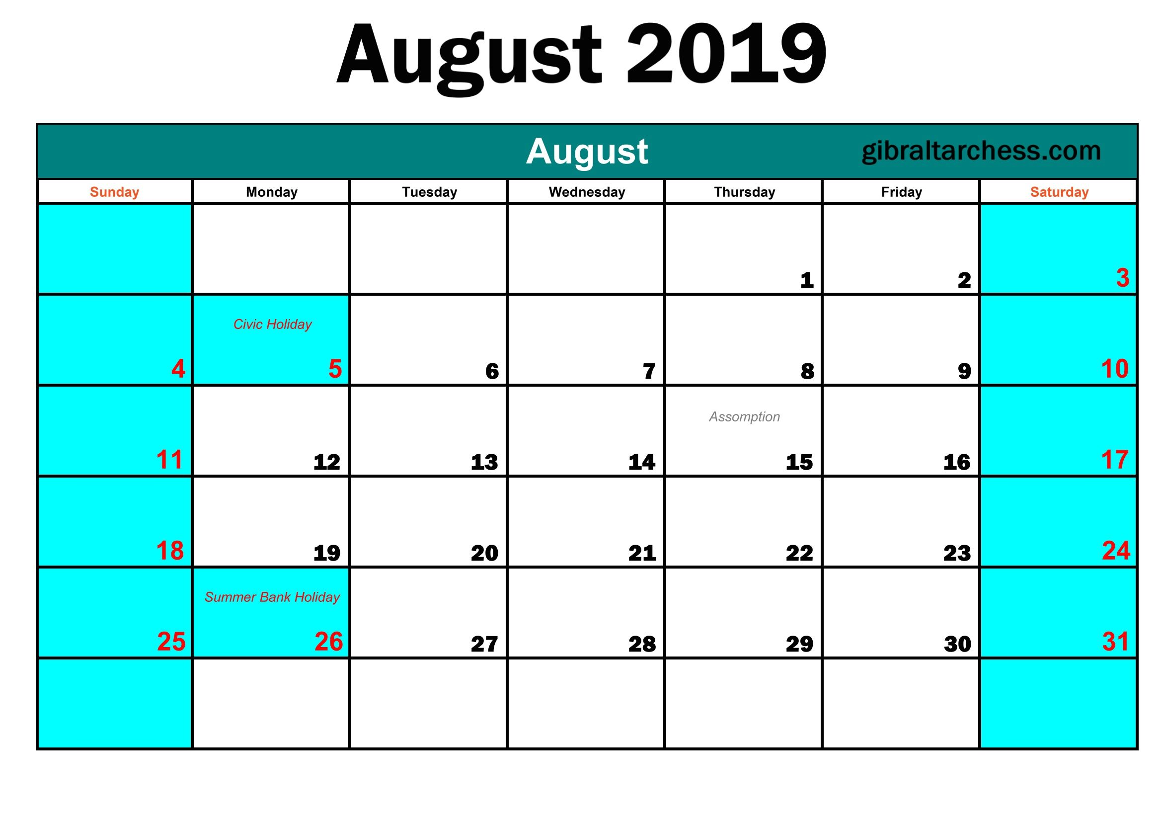 August 2019 Printable Calendar Templates Download With Images