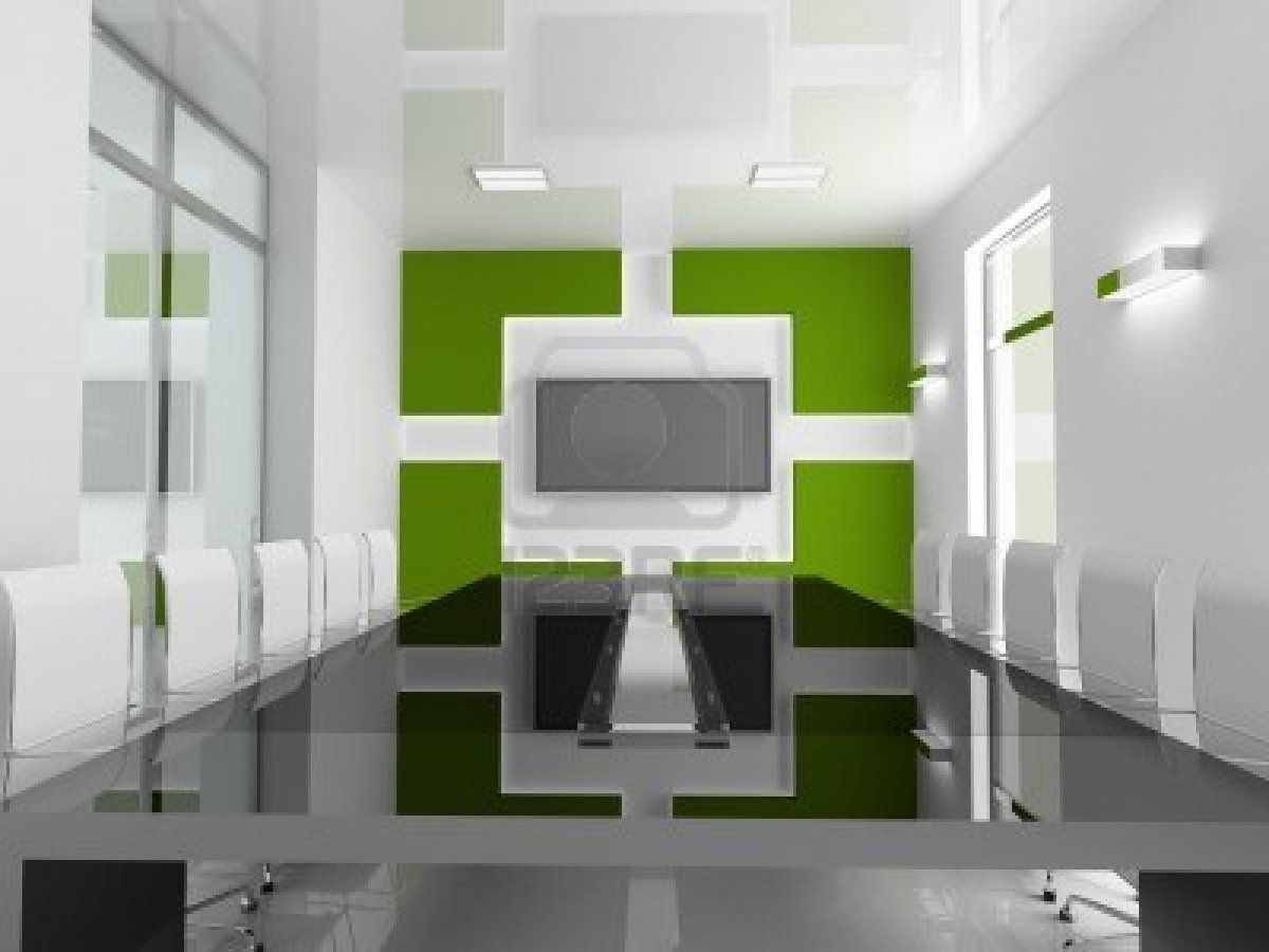 Apartment Mesmerizing Meeting Room Large Table Top Granite White Chair Green Wall Monitor