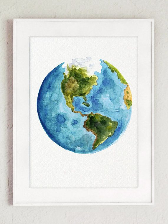 Watercolor world map painting gift idea abstract globe art print watercolor world map painting gift idea abstract globe art print blue green yellow and white gumiabroncs Choice Image