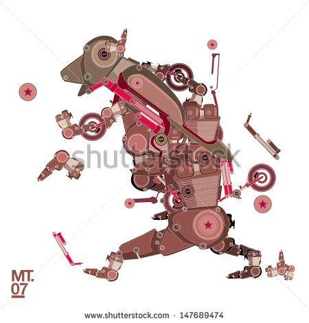 vector dog robot character for motorbike - stock vector