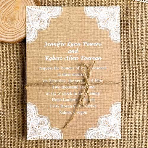 Schön Rustikal Print Spitze Einladungen Zur Hochzeit Mit Jute Seil 2014