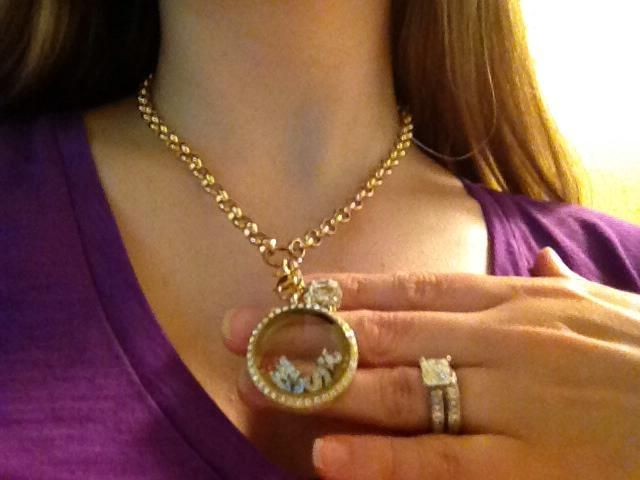 Origami Owl large gold rhinestone locket paired with the rolo chain