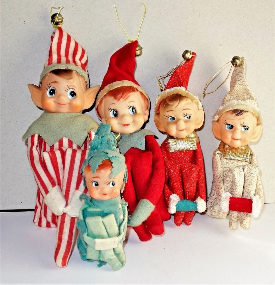 6 Vintage Felt Elf Elves Pixies Lot Of Knee Hugger Christmas Ornaments Japan Kitsch Christmas Vintage Christmas Ornaments Retro Christmas