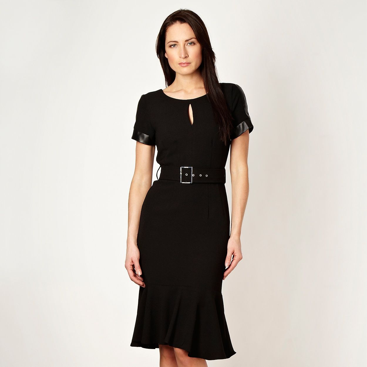 03447f39931f Star by Julien MacDonald Designer black faux leather panelled work dress-  at Debenhams.com