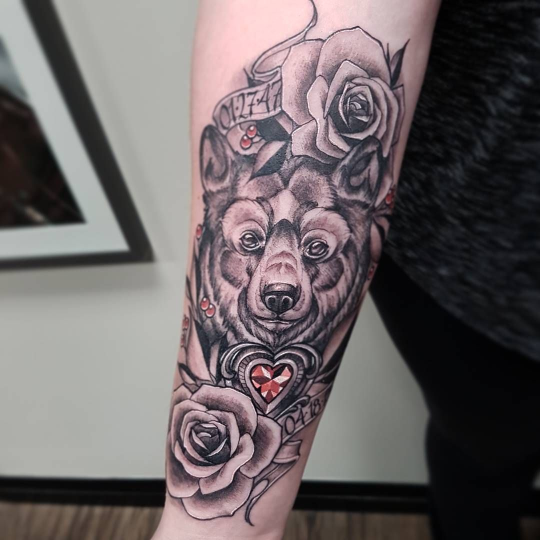 Bear Tattoo Sasha Roussel Black Gold Tattoo Co. Sleeve