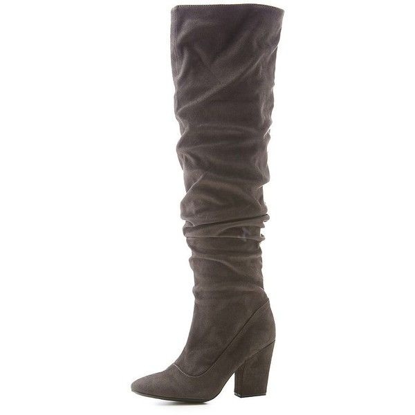 92b5e4931 Charlotte Russe Ruched Over-The Knee Boots ($24) ❤ liked on Polyvore  featuring