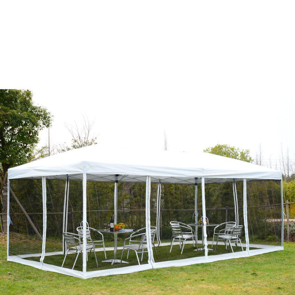 10x20 Outdoor Ez Pop Up Wedding Party Tent Patio Gazebo Canopy Mesh White W Bag Outsunny Design De Interiores De Luxo Design De Interiores Interiores