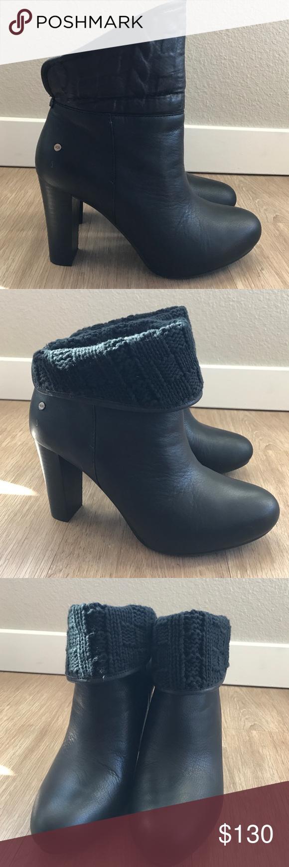 82c742a9afe Ugg dandelion tres black leather boots booties 8 Ugg Dandylion tres ...