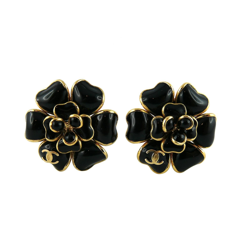 Chanel Black Gripoix Camellia Flower Clip On Earrings With Cc Logo Fall 2002 Clip On Earrings Flower Clip Chanel Black