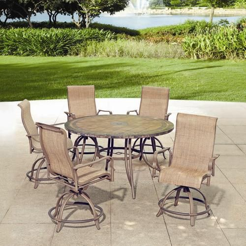 Backyard Creations 6 Piece Avondale Balcony Dining Collection At Menards Fire Pit Patio Set Backyard Creations Patio Dining Set