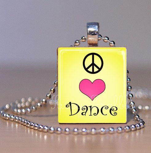 Peace Love Dance Yellow Dance Jewelry PAP by SassyScrabbleShoppe, $7.95