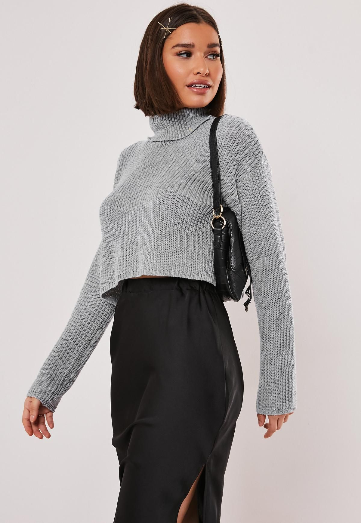 Missguided Grey Roll Neck Cropped Knitted Jumper