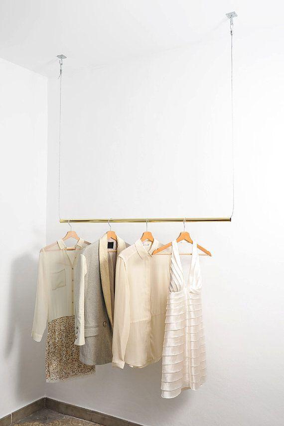 Brass Hanging Clothes Rack Etsy Eveleredesign Hangende