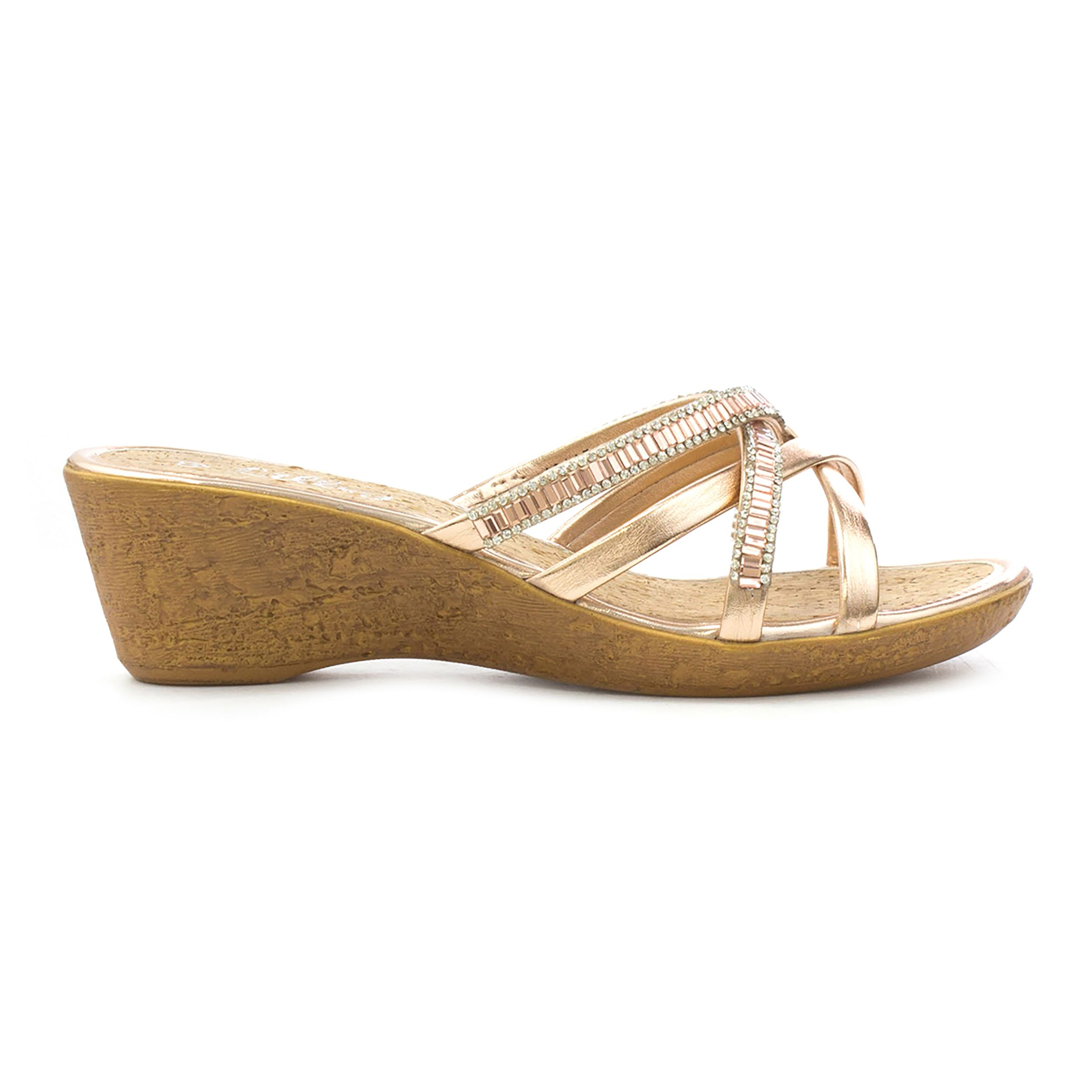 a66f5b182e8 Lilley Womens Rose Gold Strappy Wedge Sandal