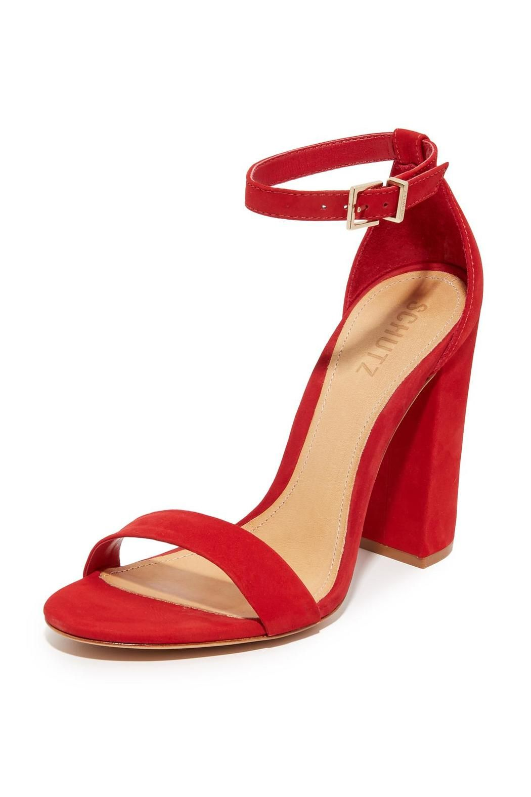 b69d6bfd0802 The Schutz Enida high heel block sandal in scarlet goes with everything and  makes your legs look amazing. The beautiful Scarlet nobuck adds a pop to  any ...