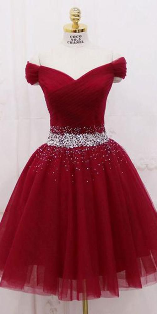 Burgundy Tulle Beadings Short Prom Dress Custom Made Short Beaded Homecoming Dress Fashion Short Off Shoulder School Dance Dress PDS034 #schooldancedresses