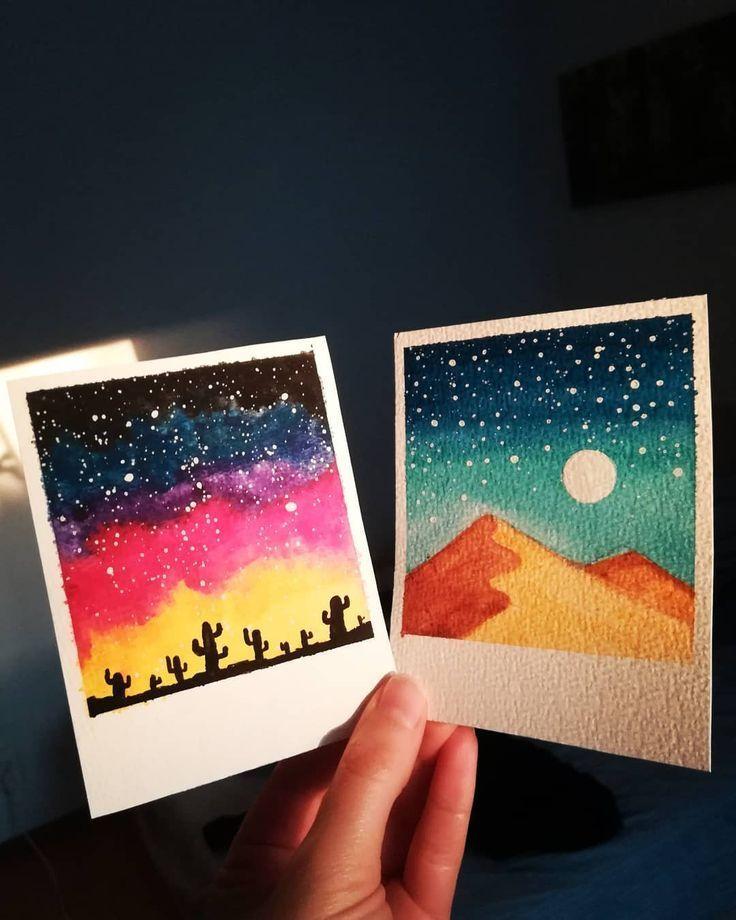 "Adina sur Instagram: ""Mini paysages polaroïds. . . #watercolors #waterco ... #adina #instagr..."