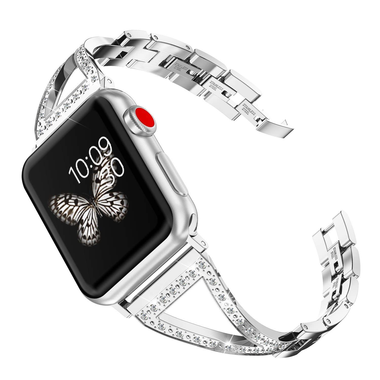 For Sale!! Wearlizer Silver Bling Womens Compatible Apple Watch Band 42mm  44mm iWatch Jewelry Stainless Steel Wristband Luxury Rhinestone Strap  Beauty ... 2f8be6e3a