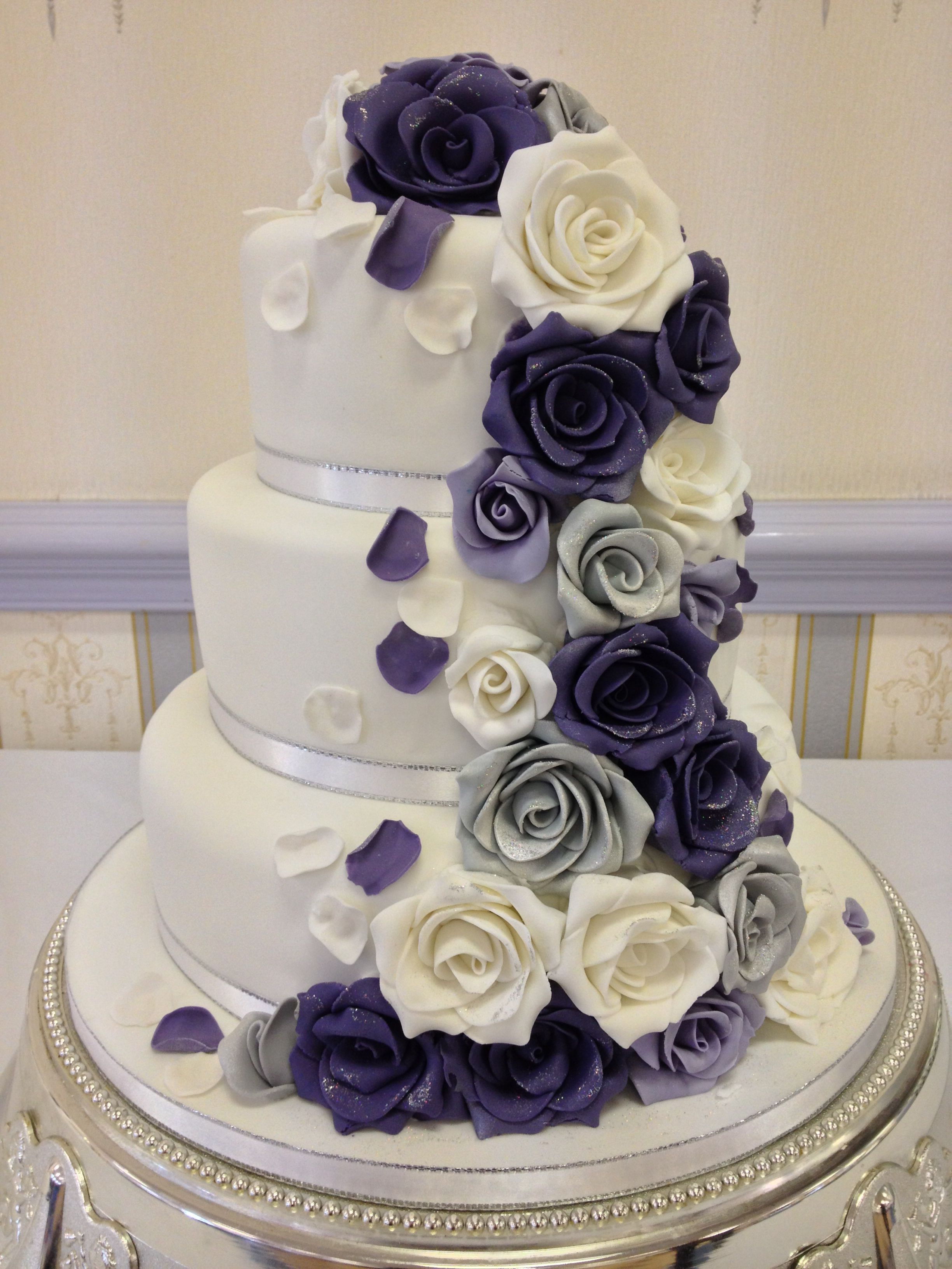 Wedding Cake Lilac Purple And Silver Roses Purple
