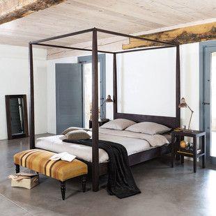 Himmelbett Aus Massivem Akazienholz 160x200 Himmelbett Bett