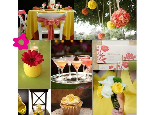 Combinación con color amarillo Decoración para boda Pinterest