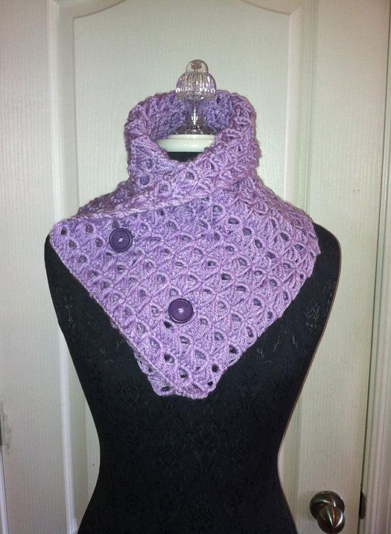 Purple broomstick crochet scarf.  One of my favorite things from my shop.
