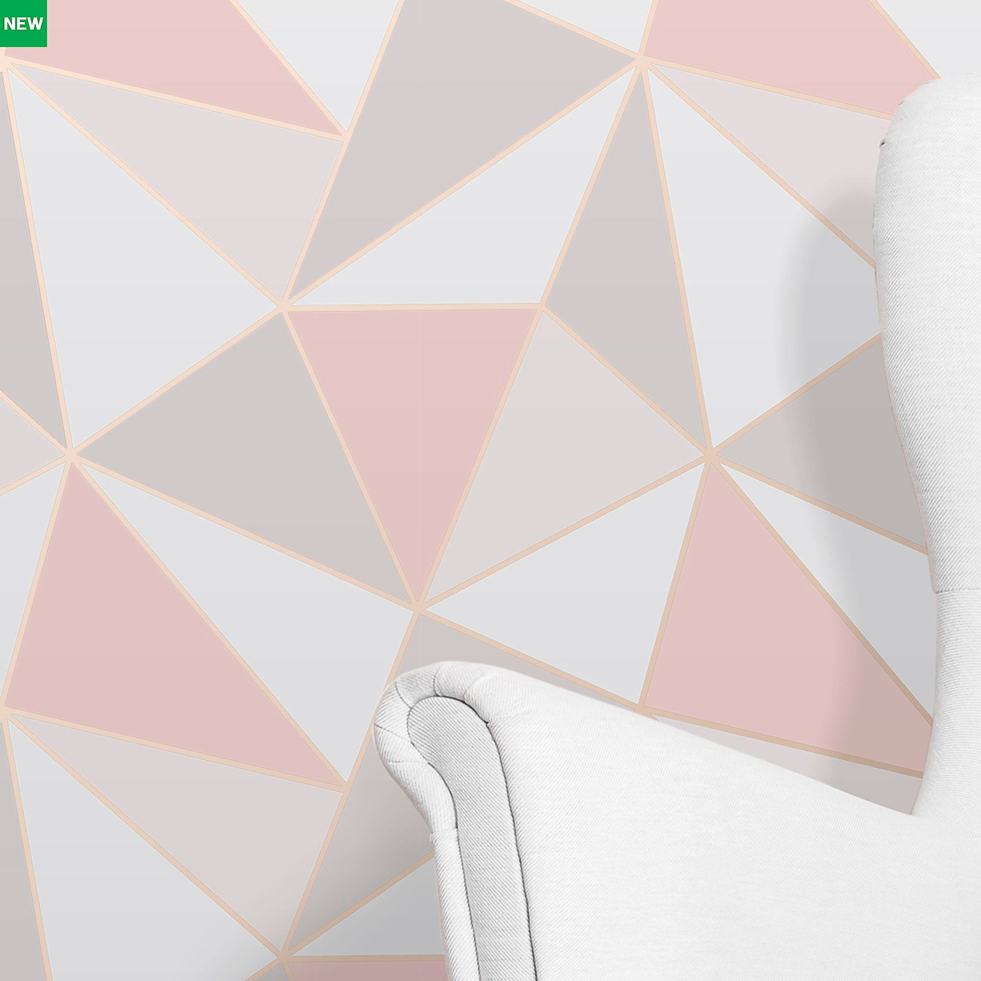 Fine Décor Rose Gold Geometric Textured Wallpaper New