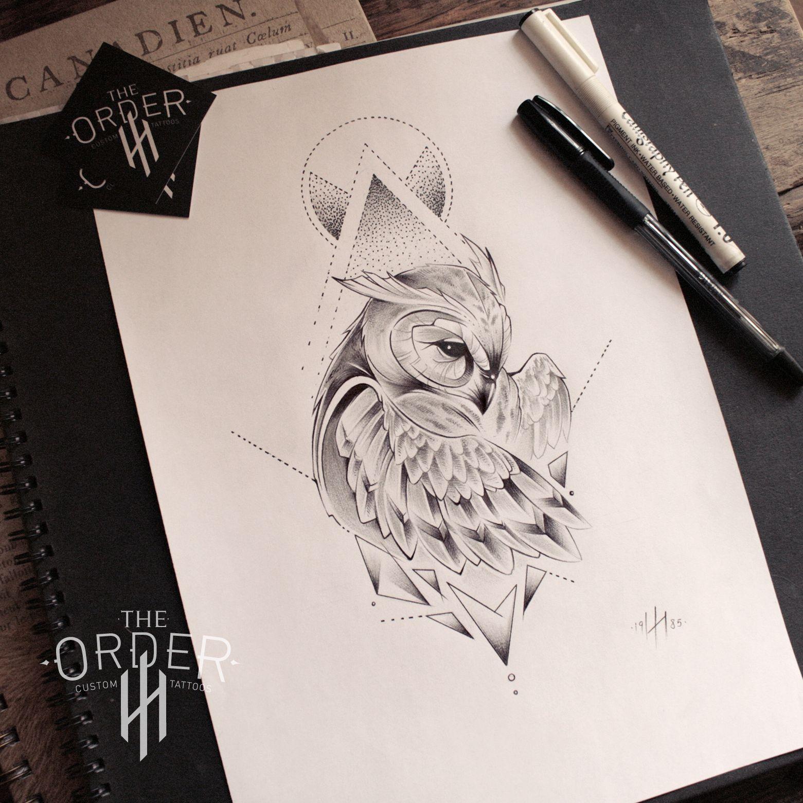 tatouage hibou forme geometrique