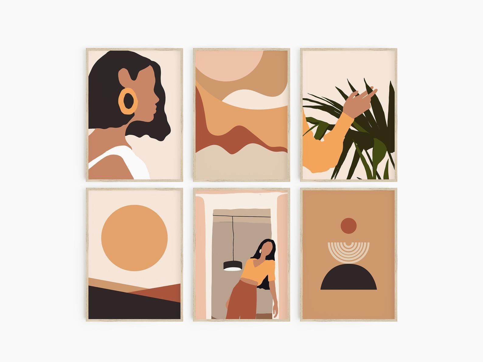 Modern Wall Art Gallery Set Of 6 Abstract Art Set Warm Art Desert Art Prints Warm Neutral Art Terracotta Burnt Orange Mustard Art In 2020 Neutral Art Small Canvas Art Abstract