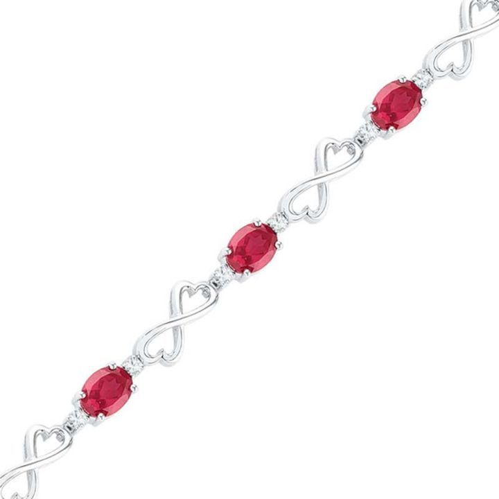 Zales Oval Lab-Created Ruby and White Sapphire Heart Infinity Bracelet in Sterling Silver - 7.5 RoRjus9J