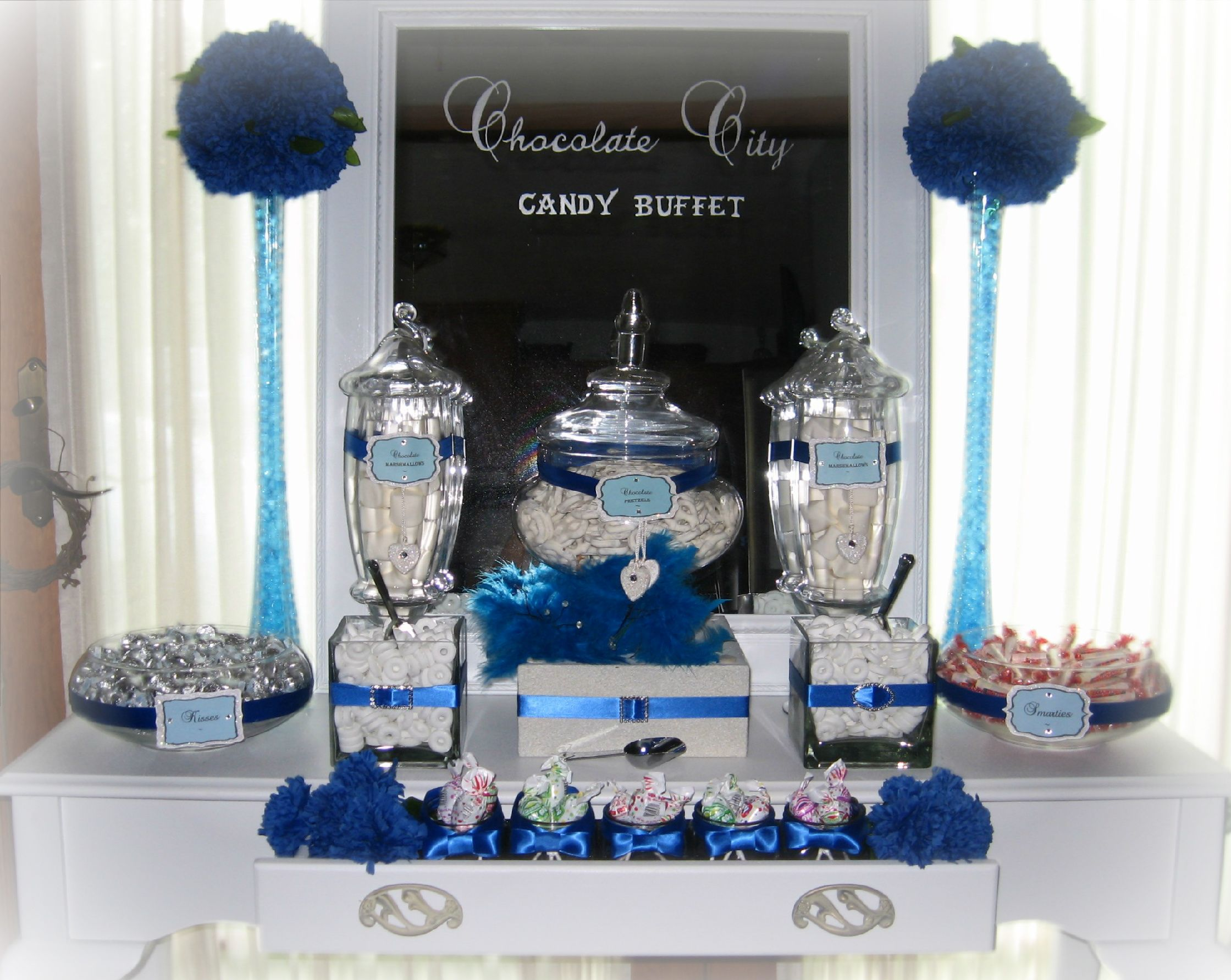 wedding shower candy buffet ideas%0A blue and white candy buffet tables   Blue  Silver and White Wedding candy  table   Candy Tables   engagement party   Pinterest   Wedding candy table