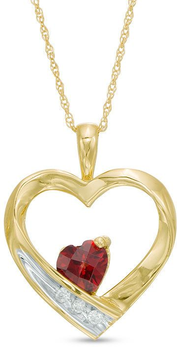 50mm heart shaped garnet and diamond accent heart pendant in 10k 50mm heart shaped garnet and diamond accent heart pendant in 10k gold aloadofball Image collections