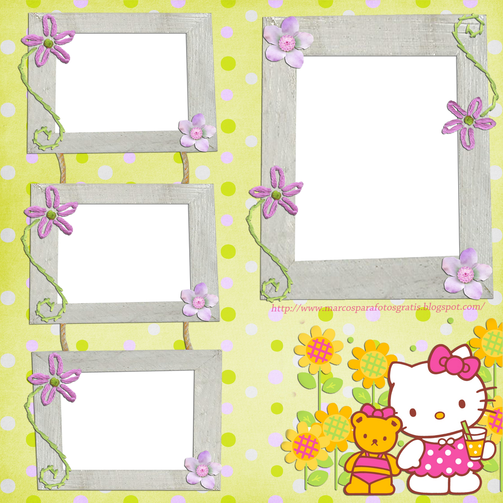 Scrapbook ideas hello kitty - Marcos Para Photoshop Y Algo Mas Hello Kitty