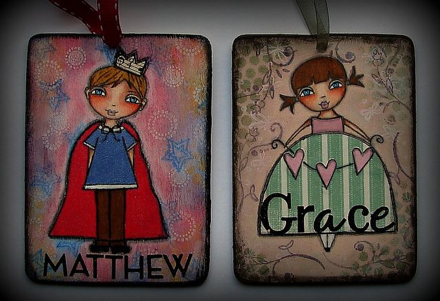 Brother and sister ornaments.