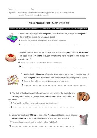 Mass Word Problems Word Problems Teaching Educational Technology Elementary