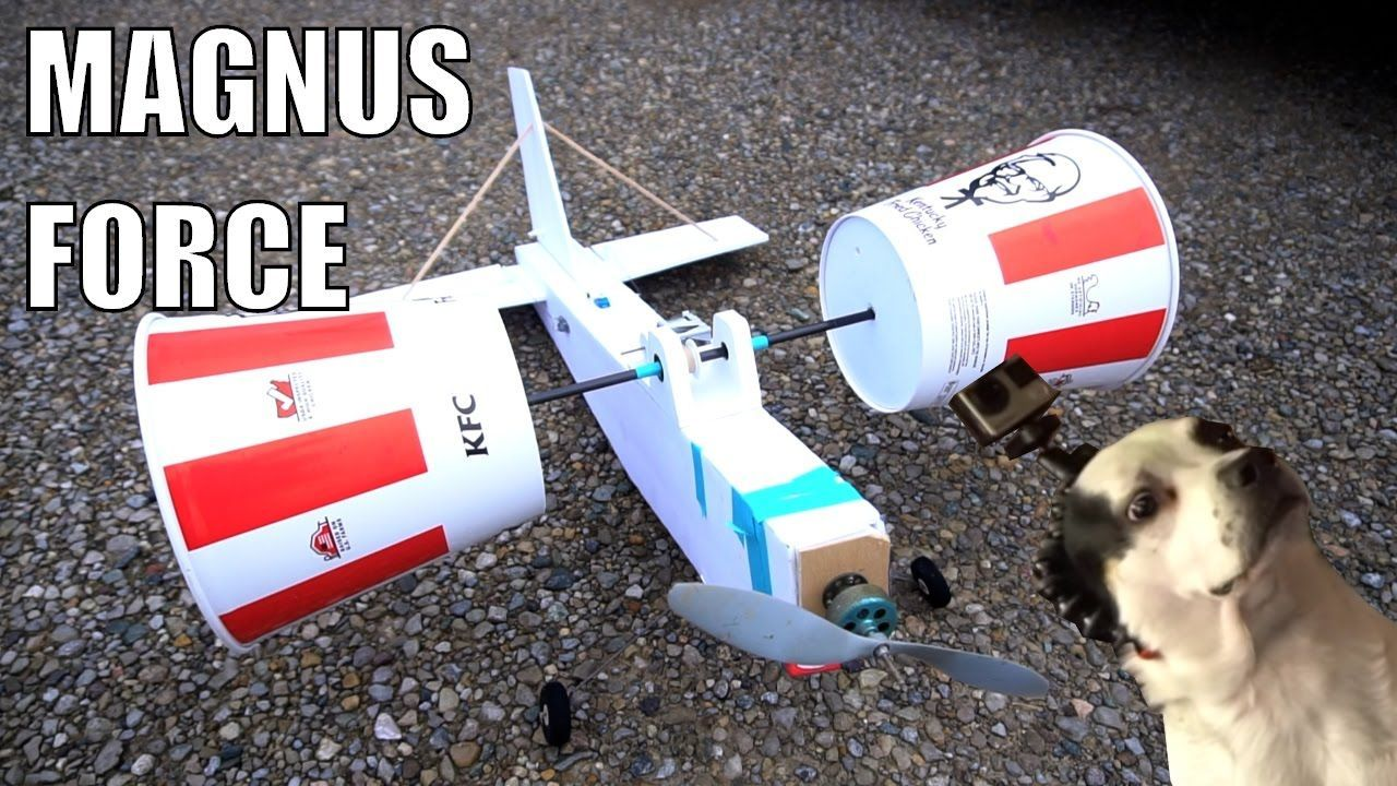 Remote-Controlled KFC Bucket Airplane That Uses the Magnus Effect to