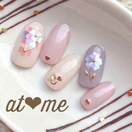 49 Ideas nails art designs flower #koreannailart