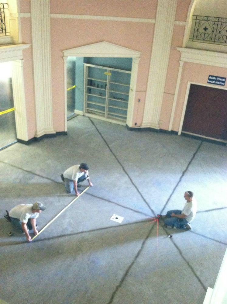 The 1936-vintage original Main Library rotunda flooring being replaced.