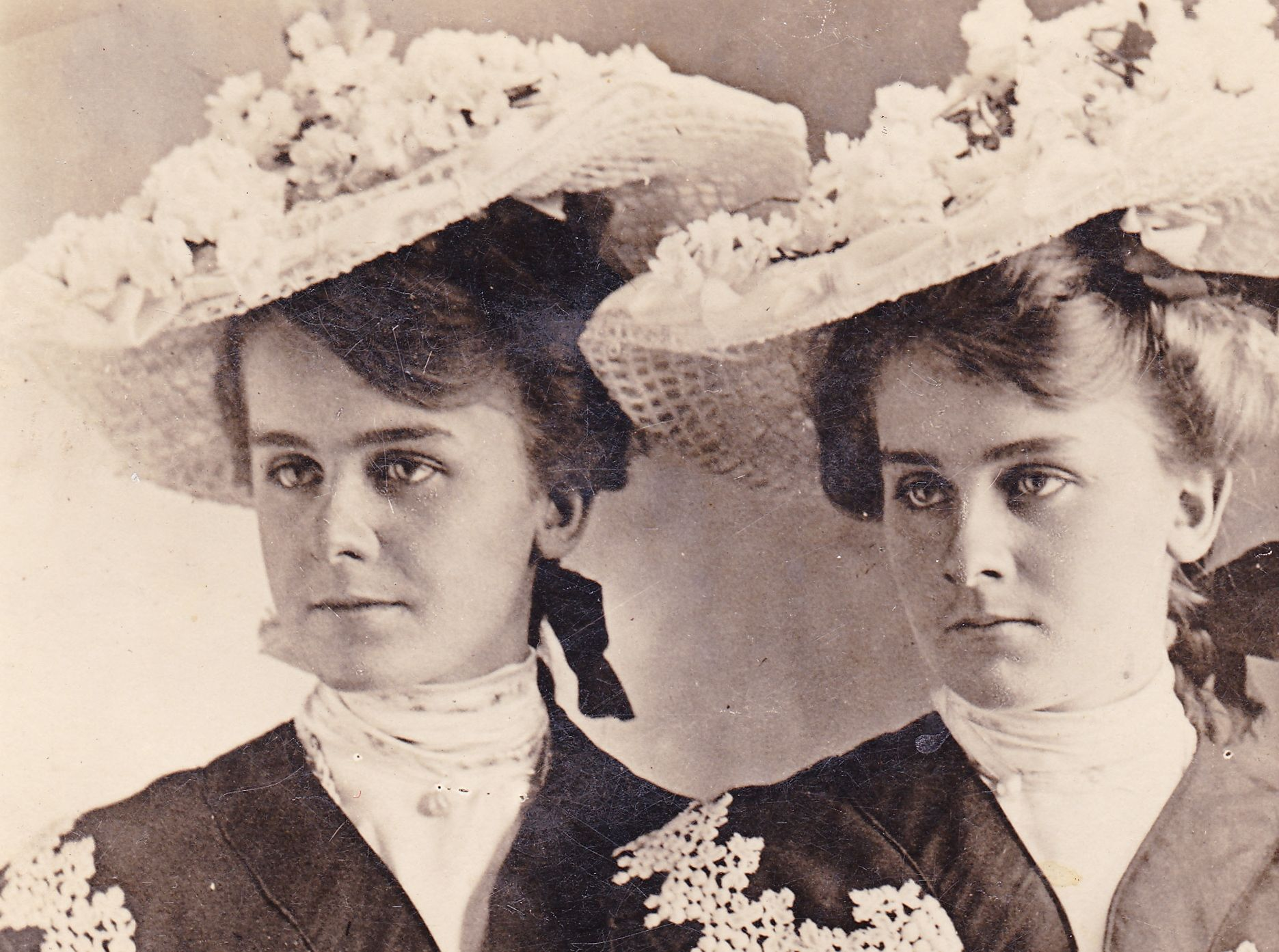 Josie and Mary Goff -Twin sisters in hats -
