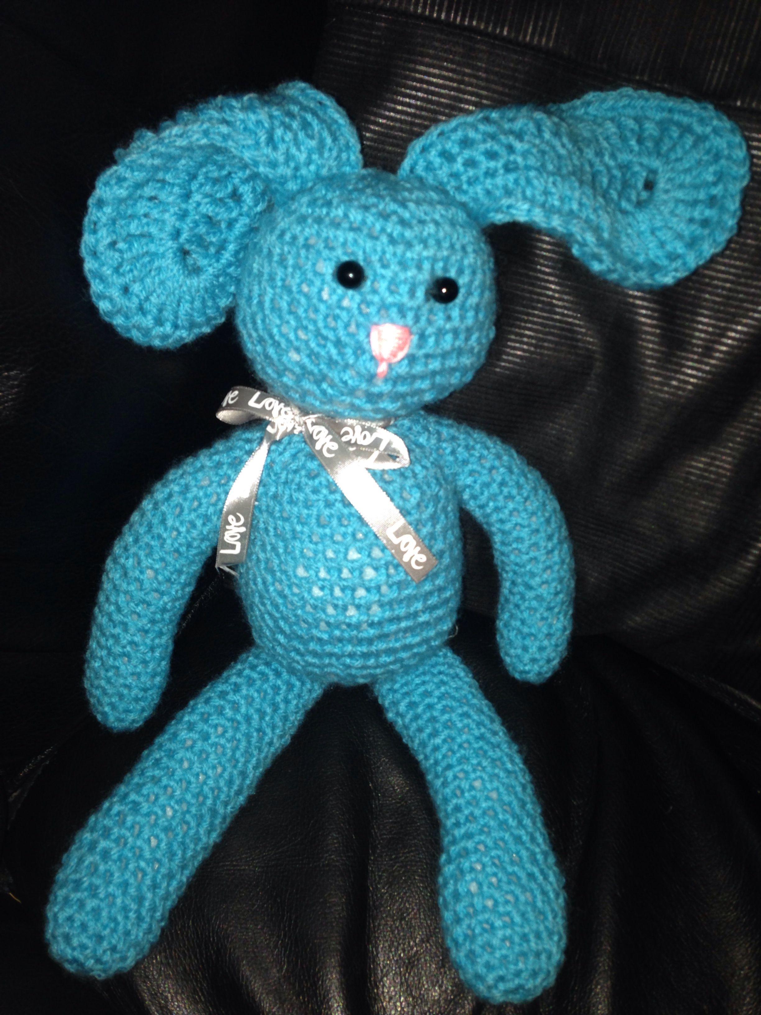 Crochet rabbit I made for a friend. Super cute if I do say so myself!