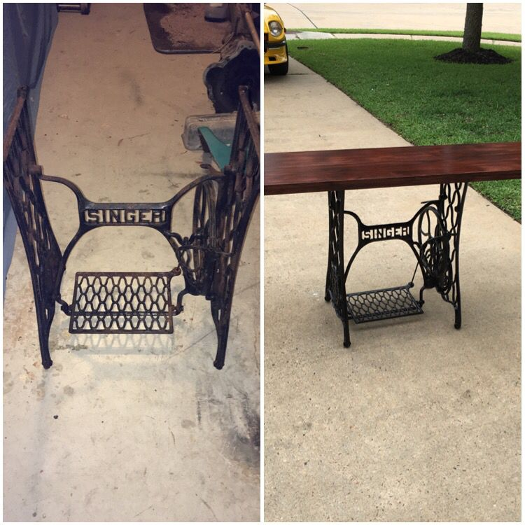 Turning a old sewing machine table into a beautiful table