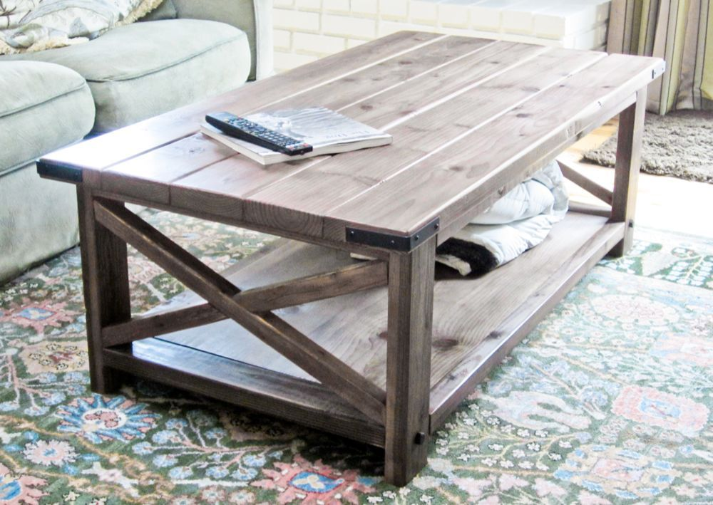 Cheap Modern Rustic Coffee Table Plans for building your own