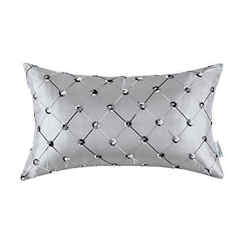 "Euphoria CaliTime Pillow Cover Faux Silk Gray Ground Three-tone Diamonds Lattice Geometric Chain Embroidered 12"" X 20"""
